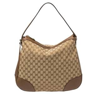 Gucci Beige/Brown GG Canvas and Leather Large Bree Hobo