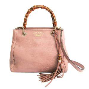 Gucci Pink Leather Shopper Bamboo Tote Bag