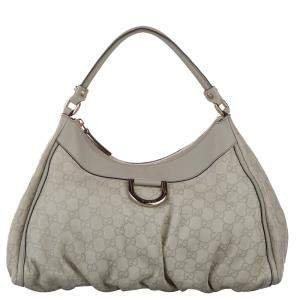 Gucci Gray Guccissima Leather Abbey D-Ring Bag