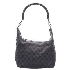 Gucci Black GG Canvas Bamboo Bag