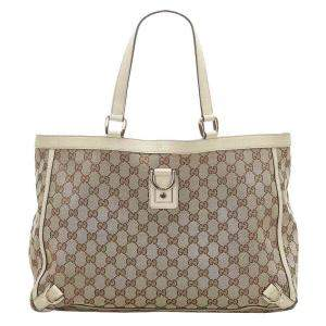 Gucci Brown/Tan GG Canvas Abbey D-Ring Tote Bag