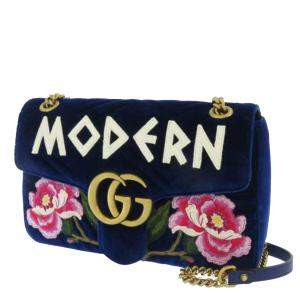 Gucci Blue Matelasse Velvet Embroidered GG Marmont Crossbody Bag