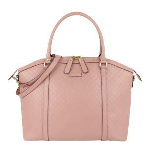 Gucci Pink Microguccissima Leather Bree Satchel Bag