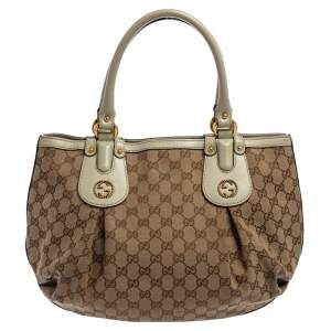 Gucci Beige GG Canvas and Leather Small Interlocking G Scarlett Tote