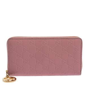 Gucci Pink Guccissima Leather GG Icon Zip Around Wallet