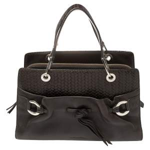 Lancel Dark Brown Braided Leather Front Pocket Tote
