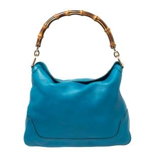 Gucci Blue Pebbled Leather Diana Bamboo Handle Shoulder Bag