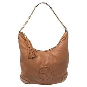 Gucci Brown Pebbled  Leather Soho Chain Hobo