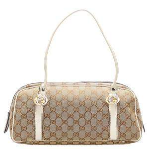 Gucci Brown GG Canvas and Leather Twins Bag