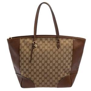 Gucci Brown GG Canvas and Leather Bree Tote