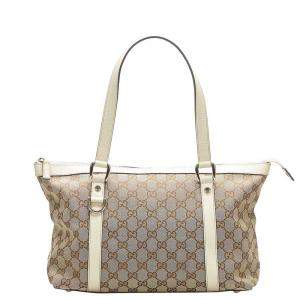 Gucci Brown/White GG Canvas Abbey Small Tote Bag