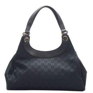 Gucci Black Canvas/Leather Charmy Hobo bag