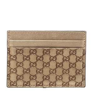 Gucci Metallic Beige Microguccissima Leather Card Holder