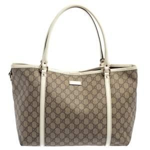 حقيبة يد غوتشي جوي متوسطة جلد لامع و كانفاس جي جي سوبريم أبيض و بيج