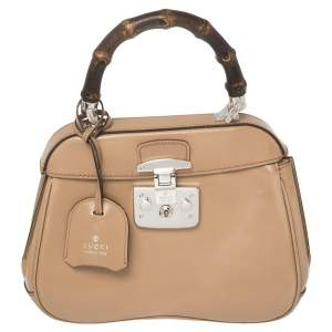 Gucci Beige Glazed Leather Mini Lady Lock Top Handle Bag