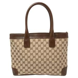 Gucci Beige/Ebony GG Canvas and Leather Tote