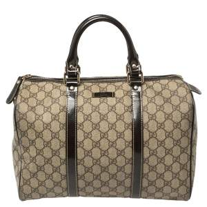 Gucci Beige/Brown GG Supreme Canvas and Patent Leather Medium Joy Boston Bag