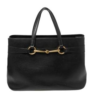 Gucci Black Leather Horsebit Tote