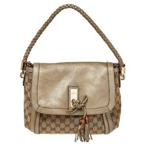 Gucci Beige/Metallic GG Canvas and Leather Medium Bella Shoulder Bag