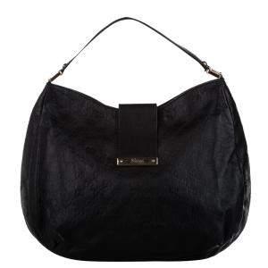 Gucci Black Guccissima New Calf Leather Hobo Bag