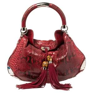Gucci Red Python and Suede Large Babouska Indy Hobo