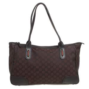 Gucci Dark Brown GG Nylon and Leather Princy Tote