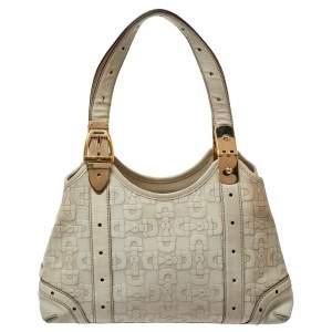 حقيبة يد غوتشي مزخرف هورسبيت جلد أبيض