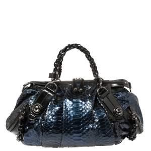 Gucci Blue Python Galaxy Satchel