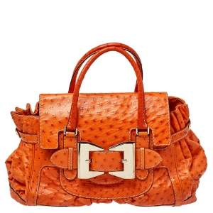 Gucci Orange Ostrich Large Queen Satchel
