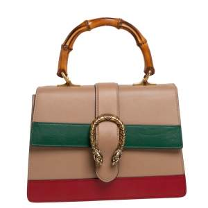 Gucci Tricolor Leather Medium Dionysus Bamboo Top Handle Bag
