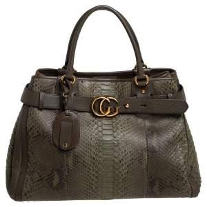 حقيبة يد غوتشي رونينغ جي جي كبيرة جلد ثعبان أخضر كاكي