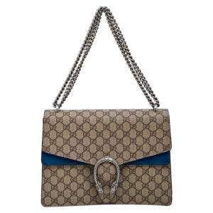 Gucci Brown/Blue GG Supreme Canvas Dionysus Medium Shoulder Bag