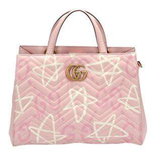 Gucci Pink Matelassé Leather GG Ghost Marmont Bag