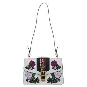 Gucci White Leather Embroidered Sylvie Bag