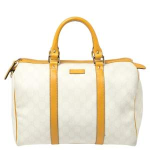 Gucci Off White/Yellow GG Supreme Canvas and Leather Medium Joy Boston Bag
