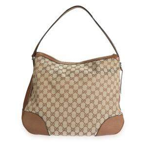 Gucci Brown/Tan GG Canvas Large Bree Hobo Bag