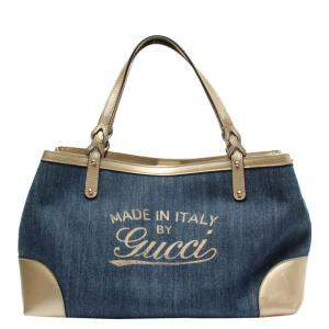 Gucci Blue Denim Craft Tote Bag
