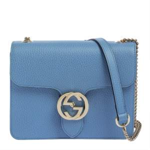 Gucci Blue Leather Small Interlocking G Crossbody Bag
