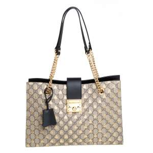 Gucci Beige/Black GG Supreme Canvas and Leather Padlock Bee Tote