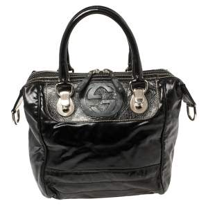 Gucci Black Coated Canvas and Leather Dialux Snow Glam Boston Bag