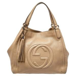 Gucci Beige Grained Leather Soho Tote