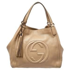 حقيبة يد غوتشي سوهو جلد مُحبب بيج
