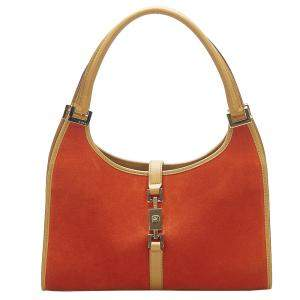 Gucci Orange Suede Jackie Hobo Bag