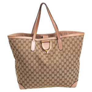 Gucci Beige GG Canvas and Leather Large D Ring Tote