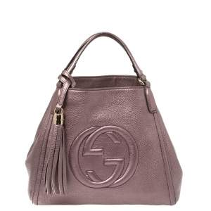 Gucci Metallic Purple Pebbled Leather Soho Tote