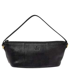 Gucci Black Lizard Baguette Bag