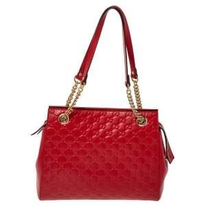 Gucci Red Guccissima Leather Chain Strap Shoulder Bag