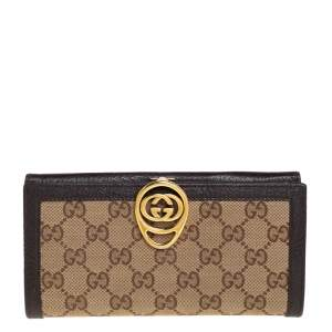Gucci Beige/Brown GG Canvas and Leather Interlocking GG Continental Wallet