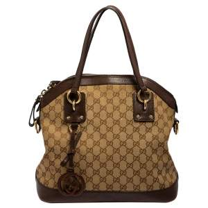 Gucci Brown/Beige GG Canvas and Leather Charm Dome Satchel