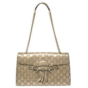 Gucci Metallic Beige Guccissima Leather Medium Emily Shoulder Bag